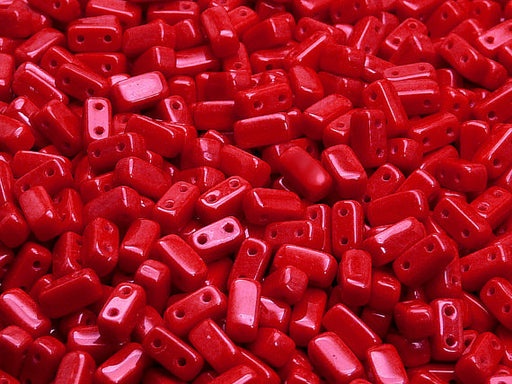 50 pcs 2-hole Brick Pressed Beads, 3x6mm, Opaque Coral Red, Czech Glass