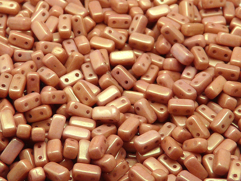 50 pcs 2-hole Brick Pressed Beads, 3x6mm, Chalk White Red Luster, Czech Glass
