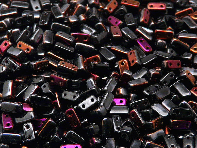 50 pcs 2-hole Brick Pressed Beads, 3x6mm, Jet Black Brown Flare, Czech Glass