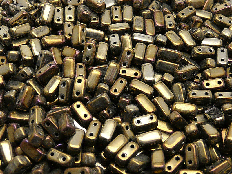 50 pcs 2-hole Brick Pressed Beads, 3x6mm, Jet Brown Iris, Czech Glass