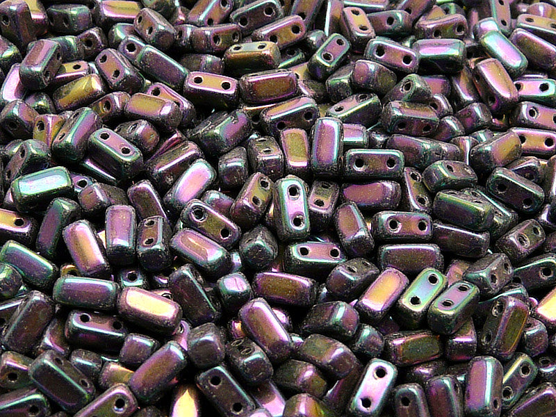 50 pcs 2-hole Brick Pressed Beads, 3x6mm, Jet Purple Iris, Czech Glass