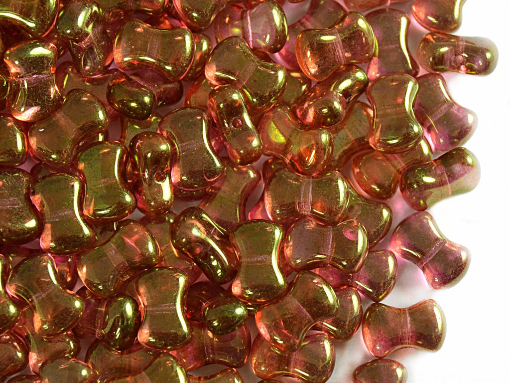 50 pcs CoCo Pressed Beads, 6x8mm, Crystal Red Luster, Czech Glass