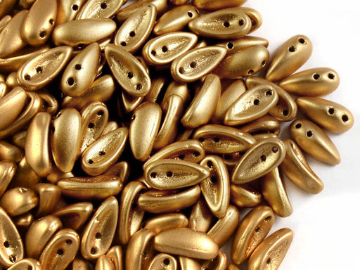 30 pcs 2-hole Chilli™ Pressed Beads, 11mm, Crystal Bronze Pale Gold (Aztec Gold), Czech Glass