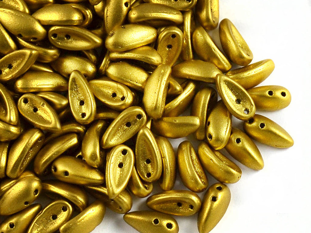 30 pcs 2-hole Chilli™ Pressed Beads, 11mm, Crystal Bronze Olive Gold, Czech Glass