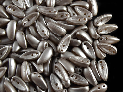 30 pcs 2-hole Chilli™ Pressed Beads, 11mm, Alabaster Pastel Light Brown, Czech Glass