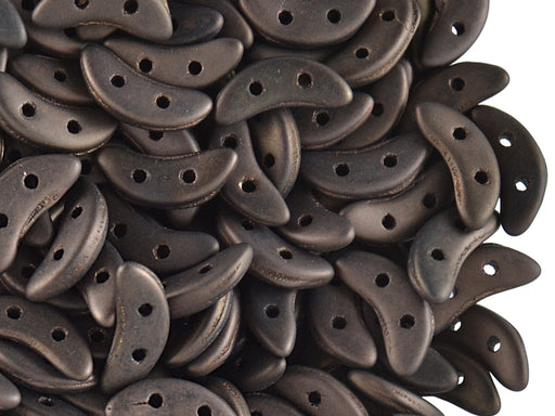50 pcs 2-hole Crescent Beads Czechmates™, 3x10mm, Matte Dark Bronze, Pressed Czech Glass