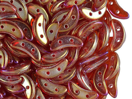 50 pcs 2-hole Crescent Beads Czechmates™, 3x10mm, Luster Iris Siam Ruby, Pressed Czech Glass