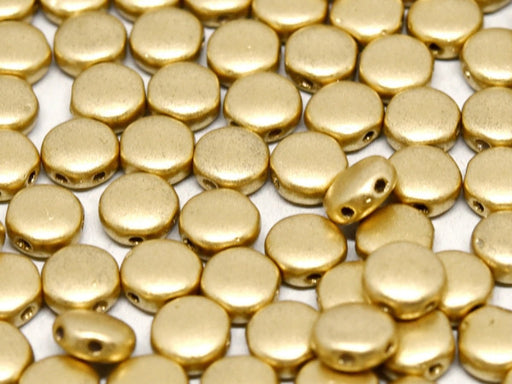 50 pcs 50 pcs DiscDuo® 6x4 mm 2 Holes  Aztec Gold Czech Glass Gold