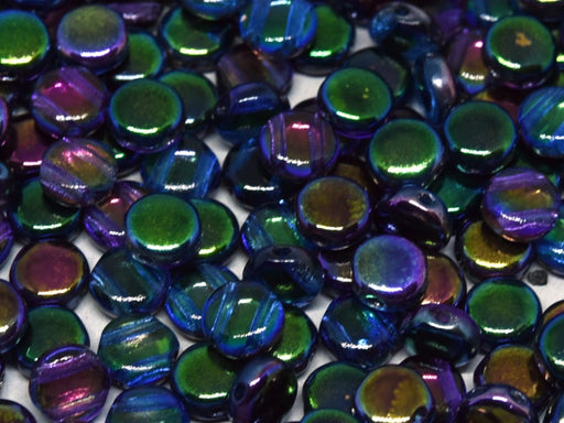 50 pcs 50 pcs DiscDuo® 6x4 mm 2 Holes Crystal Magic Blue Czech Glass Blue Purple Multicolored