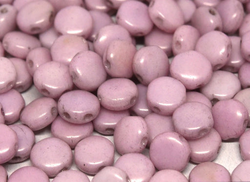 50 pcs 50 pcs DiscDuo® 6x4 mm 2 Holes Chalk White Lilac Luster Czech Glass Purple