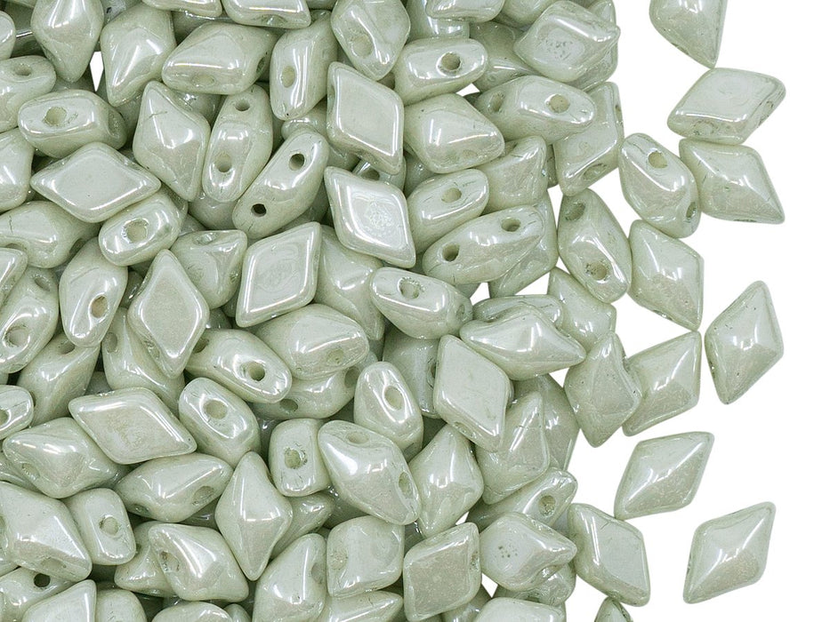 Diamonduo™ Beads 5x8 mm, 2 Holes, Chalk White Green Luster, Czech Glass