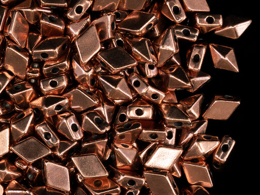 10 pcs Diamonduo™ Beads 5x8 mm, 2 Holes, Antique Copper Plated, Metal