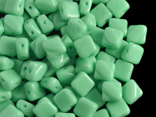 30 pcs 2-hole Silky Beads Dia, 6x6mm, Opaque Turquoise Green, Pressed Czech Glass