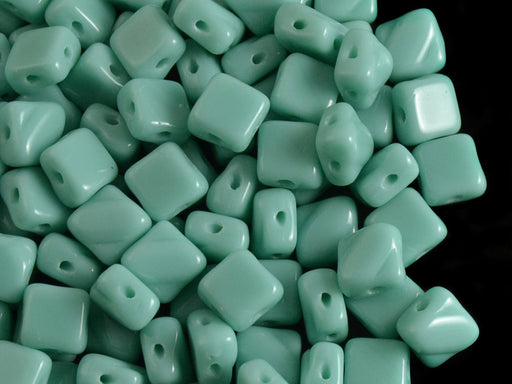 30 pcs 2-hole Silky Beads Dia, 6x6mm, Turquoise Light Green Opaque, Pressed Czech Glass
