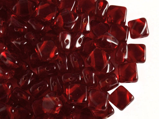 30 pcs 2-hole Silky Beads Dia, 6x6mm, Ruby, Pressed Czech Glass