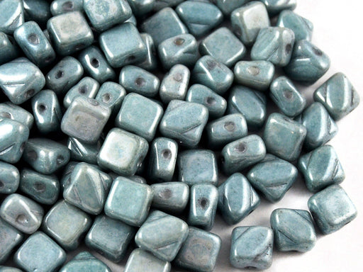 Silky Beads 6x6 mm 2 Holes Alabaster Light Blue Luster Czech Glass Blue