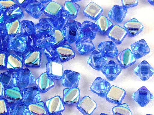 30 pcs 2-hole Silky Beads Dia, 6x6mm, Sapphire AB, Pressed Czech Glass