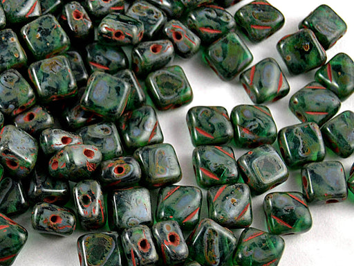 30 pcs 2-hole Silky Beads Dia, 6x6mm, Malachite Travertine, Pressed Czech Glass
