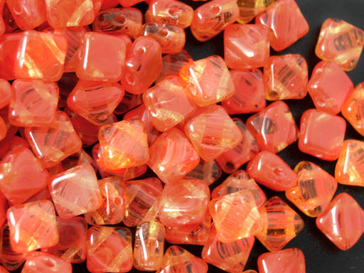 30 pcs 2-hole Silky Beads Dia, 6x6mm, Transparent Red Orange Strips, Pressed Czech Glass