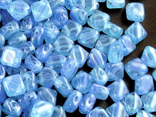 30 pcs 2-hole Silky Beads Dia, 6x6mm, Transparent Blue with Strips, Pressed Czech Glass
