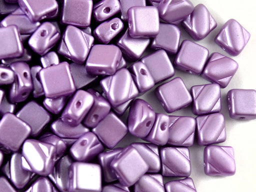 30 pcs 2-hole Silky Beads Dia, 6x6mm, Pastel Dark Lilac, Pressed Czech Glass