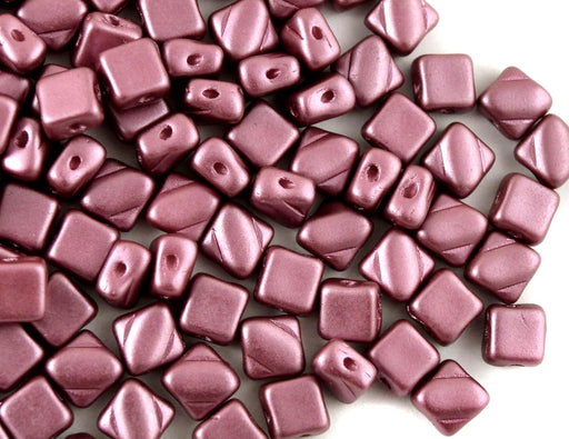 30 pcs 2-hole Silky Beads Dia, 6x6mm, Pastel Burgundy, Pressed Czech Glass