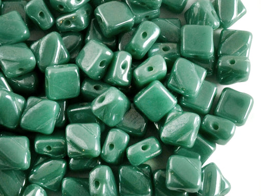 30 pcs 2-hole Silky Beads Dia, 6x6mm, Opaque Green Turquoise Luster, Pressed Czech Glass
