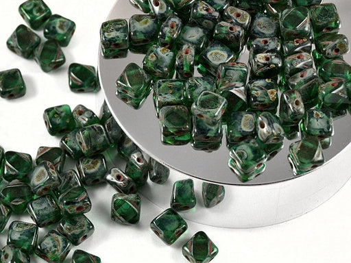 12 pcs 2-hole Cut Silky Beads Dia, 6x6mm, Emerald Travertine, Pressed Czech Glass