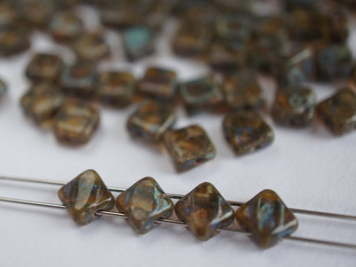 12 pcs 2-hole Cut Silky Beads Dia, 6x6mm, Smoke Gray Travertine, Pressed Czech Glass