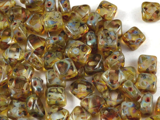 12 pcs 2-hole Cut Silky Beads Dia, 6x6mm, Alexandrite Travertine, Pressed Czech Glass