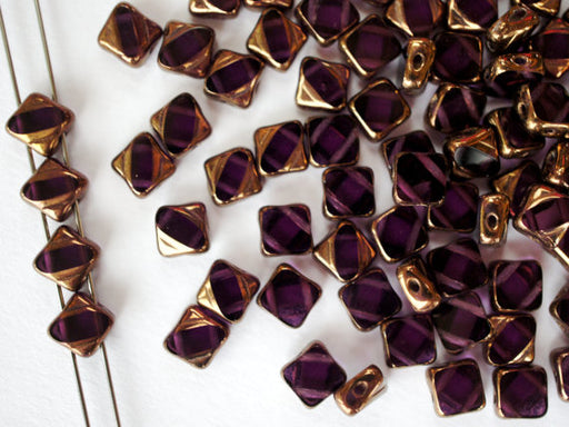 12 pcs 2-hole Cut Silky Beads Dia, 6x6mm, Transparent Amethyst Half Bronze, Pressed Czech Glass