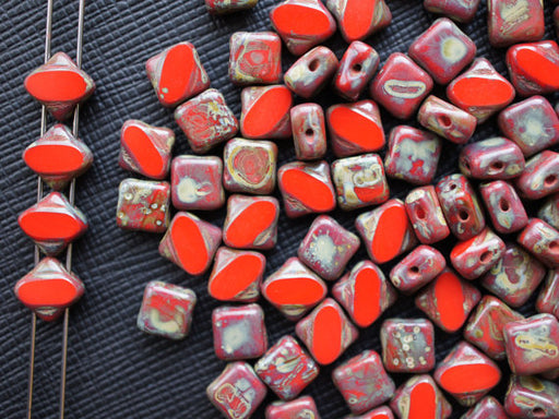 12 pcs 2-hole Cut Silky Beads Dia, 6x6mm, Red Coral Travertine Dark, Pressed Czech Glass