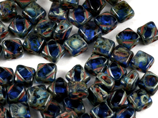 12 pcs 2-hole Cut Silky Beads Dia, 6x6mm, Sapphire Travertine Dark, Pressed Czech Glass
