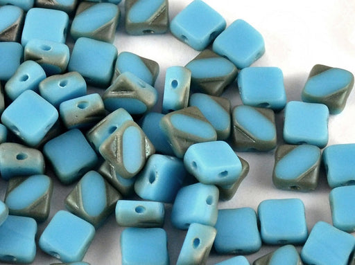 24 pcs 2-hole Cut Silky Beads Dia, 6x6mm, Opaque Blue Turquoise Celsian Matte, Pressed Czech Glass