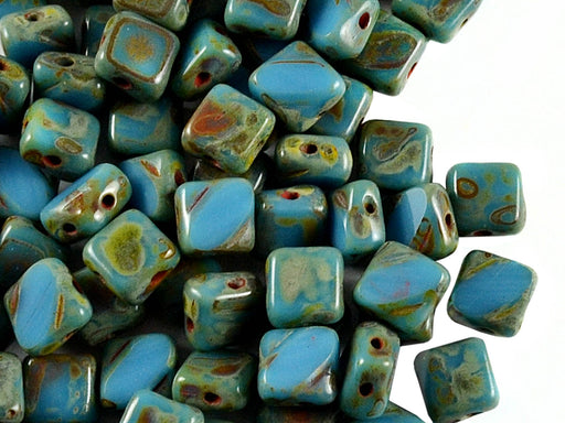24 pcs 2-hole Cut Silky Beads Dia, 6x6mm, Opaque Turquoise Blue Travertine Dark, Pressed Czech Glass