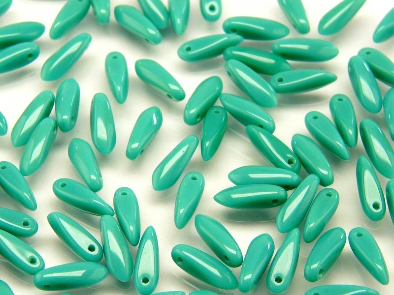 50 pcs Dagger Small Pressed Beads, 3x10mm, Deep Turquoise Luster, Czech Glass