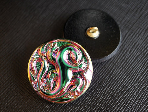 1 pc Czech Glass Button, Green Vitrail Lizard, Hand Painted, Size 12 (27mm)