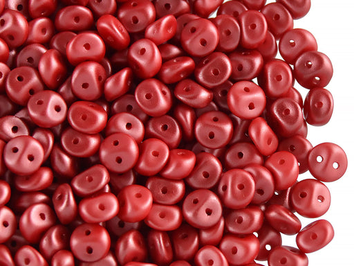 50 pcs 2-hole Es O® Beads ESTRELA, 5mm, Alabaster Pastel Dark Coral, Czech Glass