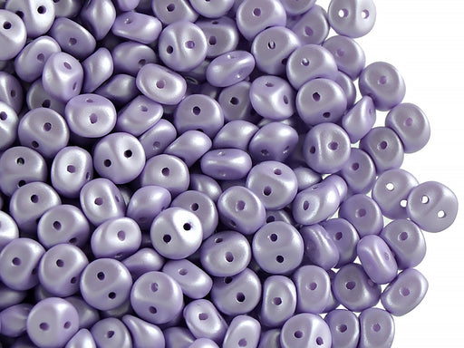 50 pcs 2-hole Es O® Beads ESTRELA, 5mm, Alabaster Powder Light Purple, Czech Glass