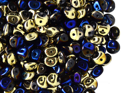 50 pcs 2-hole Es O® Beads ESTRELA, 5mm, Jet California Blue, Czech Glass
