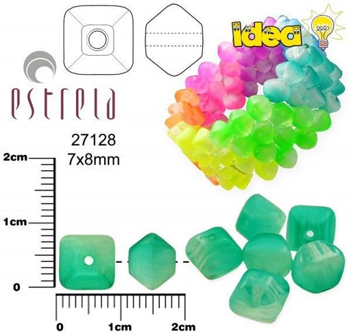 20 pcs Lucerna NEON Beads, 7x8mm, Emerald Green, Czech Glass