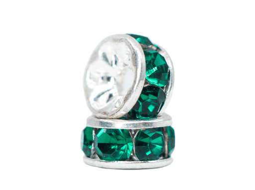 Rhinestone connecting glass spacer emerald green with metal silver color base