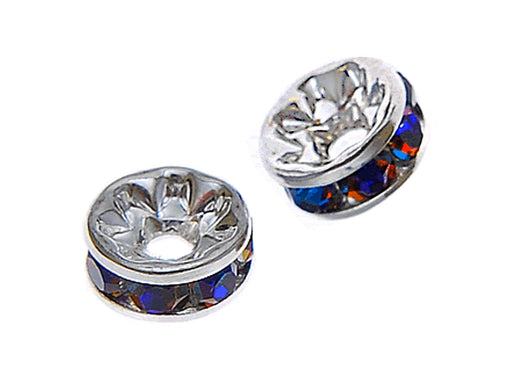 1 pc Rondelle, 7mm, Blue Rainbow Silver Plated
