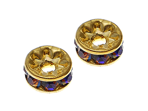 1 pc Rondelle, 7mm, Blue Rainbow Gold Plated