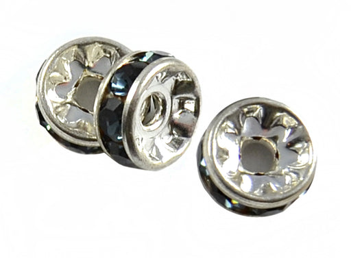 1 pc Rondelle, 8mm, Dark Blue Silver Plated