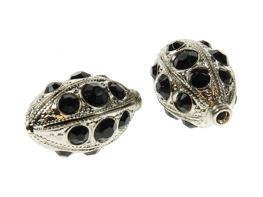 1 pc Rhinestone Bead, 18.8x11.7mm, Jet Black Platinum Plated
