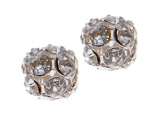 1 pc Rhinestone Bead, 8mm, Crystal Silver Plated