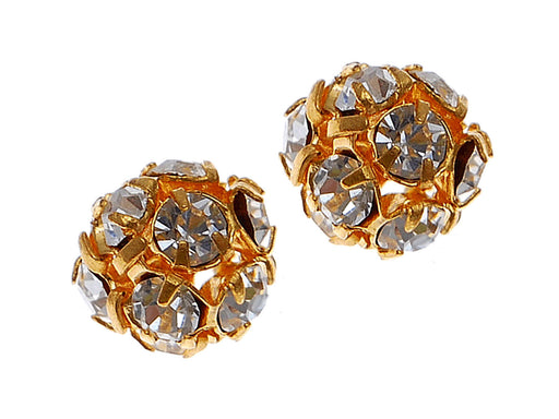 1 pc Rhinestone Bead, 8mm, Crystal Gold Plated