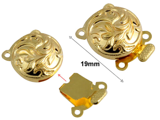 1 pc Jewelry Mechanical Clasp, 19x11mm, Gold Plated