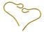 2 pcs French Earring Hooks, Wire, 16.3x12.6mm, Gold Plated